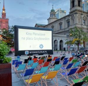 organización del cine al aire libre